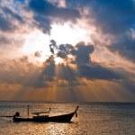 Fish boat at sunrise — Stock Photo