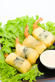 Shrimp fried seaweed roll on the plate. — Stock Photo