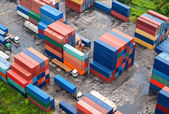 Stack of Freight Containers at the Docks — Stok fotoğraf
