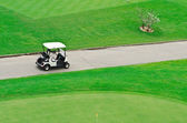 Golf court with golf cart — Stok fotoğraf