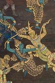 Bangkok, tayland, tapınak duvarında geleneksel tay tarzı resim sanatının şaheser — Stok fotoğraf