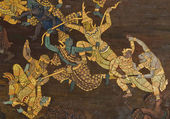 Masterpiece of traditional Thai style painting art on temple wall at Bangkok,Thailand — Stock Photo