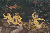 Obra maestra del arte de la pintura tradicional estilo tailandés en la muralla del templo en bangkok, tailandia — Foto de Stock