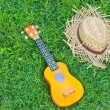 Stock Photo: Ukulele with hat