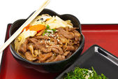Rice with fried pork and seaweed Salad — Stock Photo