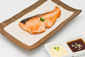 Salmon fish grilled in the plate — Stock Photo