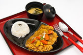 Bento, Japanese food style , fried chicken and rice and soup — Stock Photo