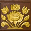 Stock Photo: Lotus carved gold paint