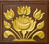 Lotus carved gold paint — Foto Stock