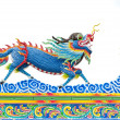 Chinese style blue dragon statue — Stock Photo