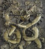 Stucco golden dragon — Stock Photo