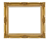 Isolated golden wooden Photo Frame — Stock Photo