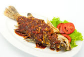 Fried snapper with chili sauce — Stockfoto