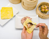 Manufacture of dim sum — Stock Photo