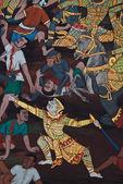 Meisterwerk der traditionellen thai-stil-malerei-kunst auf tempel-wa — Stockfoto