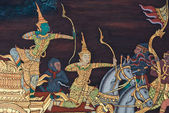 Masterpiece of traditional Thai style painting art on temple wa — Stock Photo