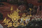 Arcydzieło sztuki malowania tradycyjnego stylu tajskiego — Zdjęcie stockowe