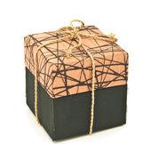 Brown fabric box — Stok fotoğraf