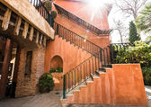 Stair on the classic orange building — Stock Photo