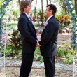 Gay Marriage - Under the Floral Arch — Stock Photo #13436073