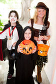 Three Children - Trick or Treat — Stok fotoğraf