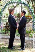-çiçek kemerin altında eşcinsel evlilik — Stok fotoğraf