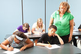Teacher Monitors Standardized Test — Stock Photo