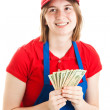 Teenage Worker with Money - Foto Stock