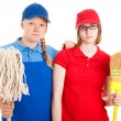 Teen Jobs - Serious Workers - Stock Photo