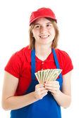 Teenage Worker with Money — Stock Photo