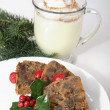 Christmas Fruitcake and Eggnog - Stock Photo