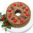 Stock Photo: Christmas Fruitcake on White