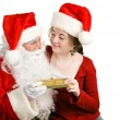 Girl Gets Christmas Present From Santa — Stock Photo