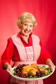 Retro Housewife Cooks Holiday Meal — Stock Photo