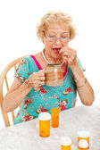 Healthy Senior Woman Takes Medication — Stock Photo