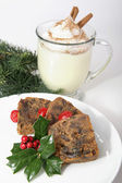 Christmas Fruitcake and Eggnog — Stock Photo