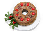 Christmas Fruitcake on White — Stock Photo