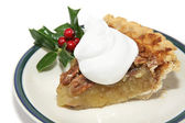 Slice of Pecan Pie for Christmas — Stock Photo