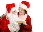 Girl Gets Christmas Present From Santa — Stock Photo