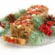 Royalty-Free Stock Photo: Holiday Fruit Cake Isolated on White