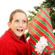 Stock Photo: Little Boy Shaking Christmas Gift