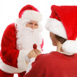 Santa Gives Lollipop to Boy — Stock Photo