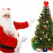 Santa Claus Presents Christmas Tree — Stock Photo