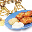 Latkes Menorah Dreidel and Gelt for Hanukkah - Stock Photo