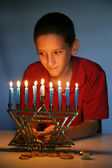 Young Boy With Hanukkah Menorah — Stock Photo