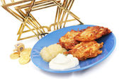 Latkes Menorah Dreidel and Gelt for Hanukkah — Stock Photo
