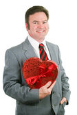 Valentine Guy Holding Heart — Stock Photo