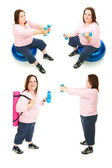 Plus Size Woman Exercise Collage — Stock Photo
