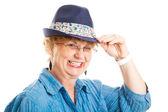 Cute Middle Aged Woman Tips Hat — Stock Photo