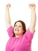 Woman Rasing Arms in Celebration — Stock Photo